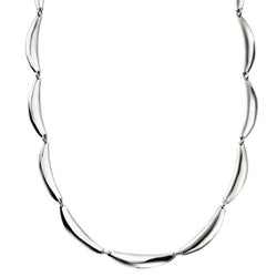 Curved link necklace in silver