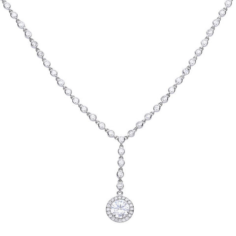 Cubic zirconia halo droplet necklace in silver