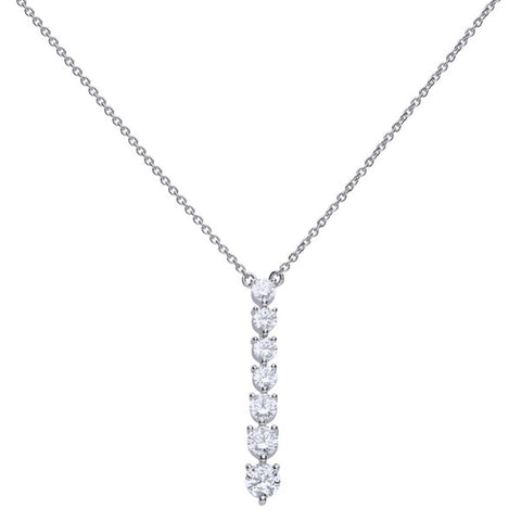 Cubic zirconia graduated drop necklace in silver