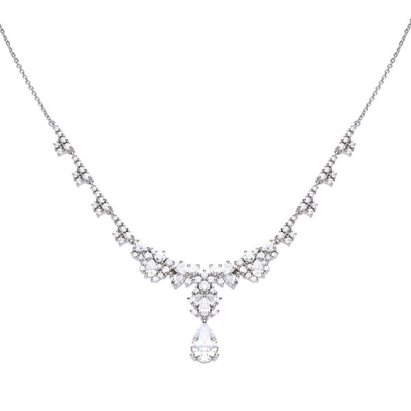 Cubic zirconia pear shape dropper necklet in silver