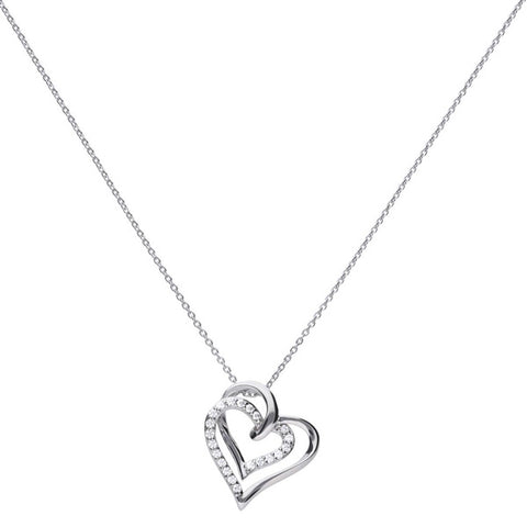 Cubic zirconia double heart pendant and chain in silver