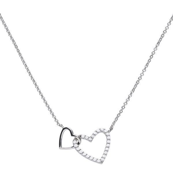 Cubic zirconia double heart necklace in silver