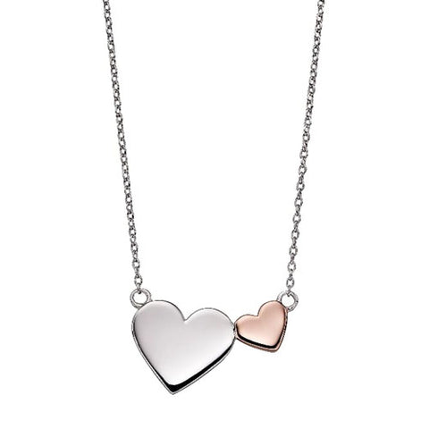 Double heart necklace in silver with rose gold plating