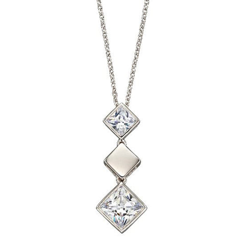 Square cubic zirconia drop pendant and chain in silver