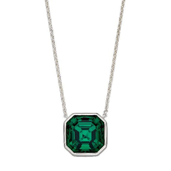 Green crystal necklace in silver