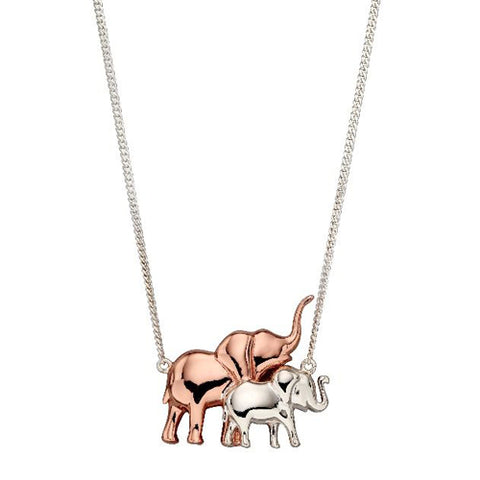 Elephant necklace in silver with rose gold plating