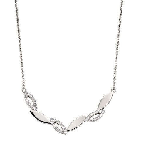 Cubic zirconia marquise shapes necklace in silver