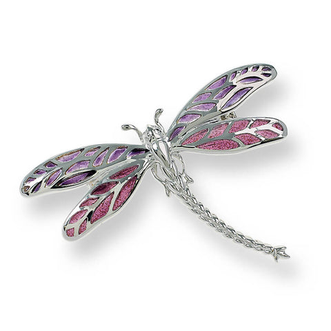 Purple enamel dragonfly brooch/pendant in silver