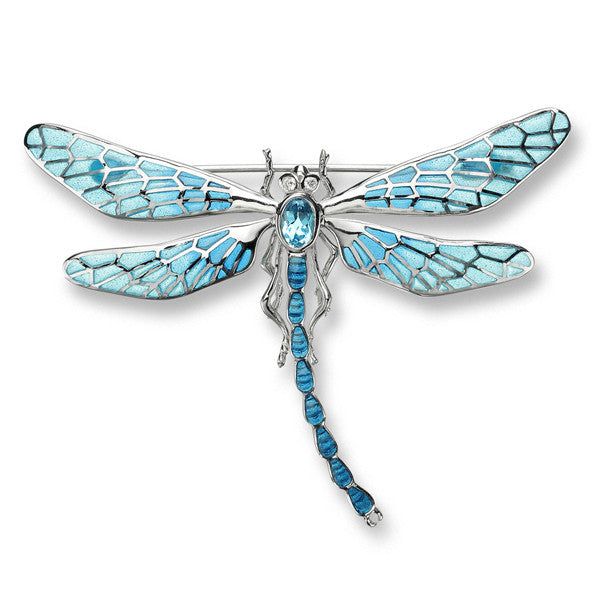 Brooch - Dragonfly brooch with enamel, diamonds and blue topaz in silver  - PA Jewellery