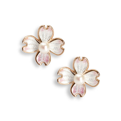 Enamel and freshwater pearl dogwood earrings in silver with rose gold plate