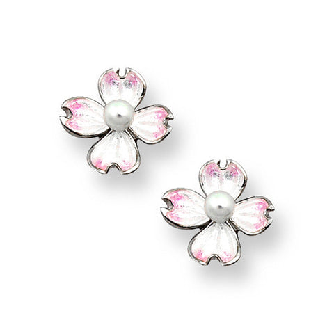 Enamel and cultured pearl dogwood earrings in silver
