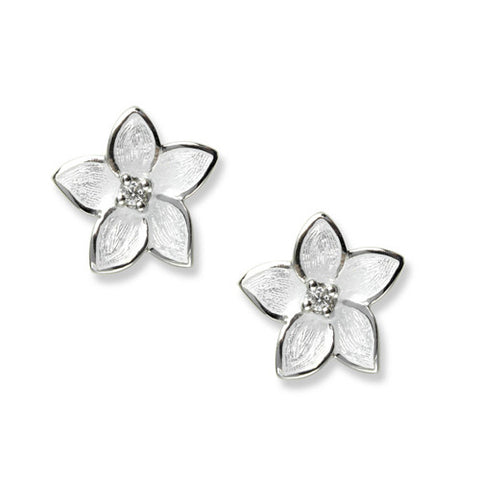 Enamel and white sapphire flower stud earrings in silver
