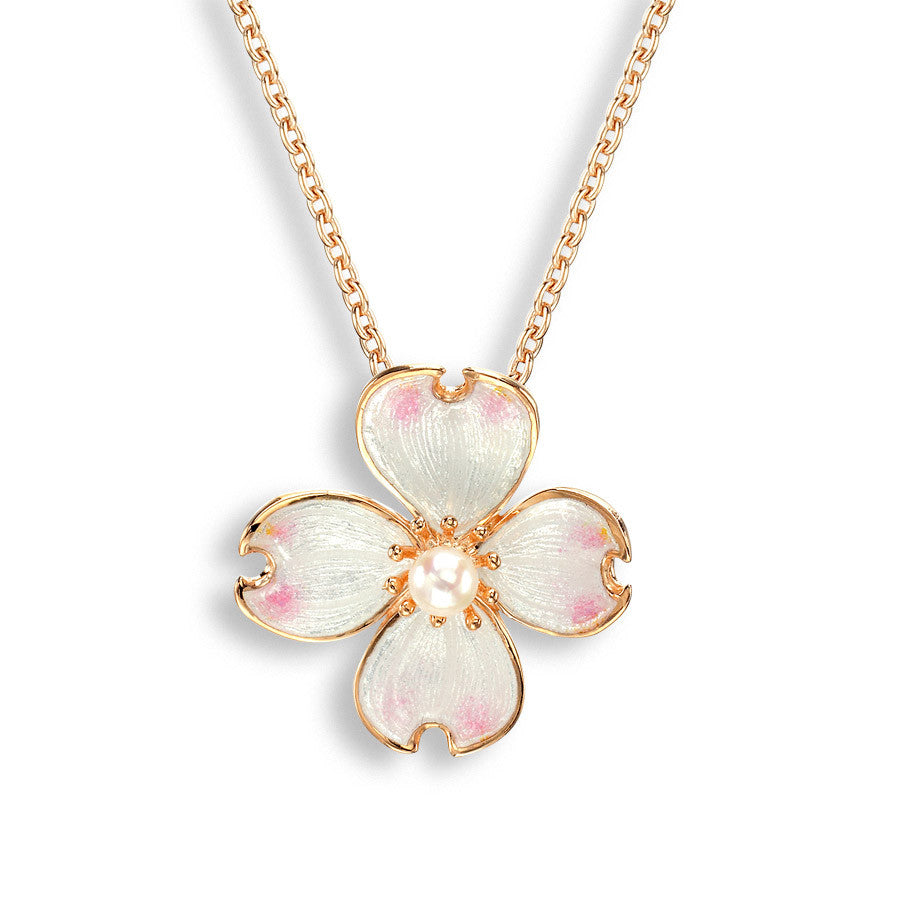 Enamel and freshwater pearl Dogwood pendant and chain in silver with rose gold plate