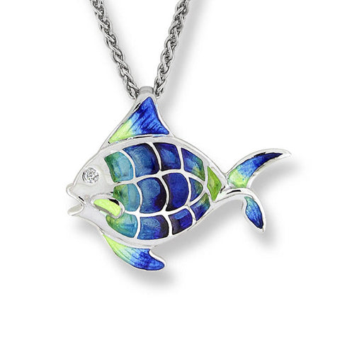 Enamel and white sapphire angelfish pendant and chain in silver