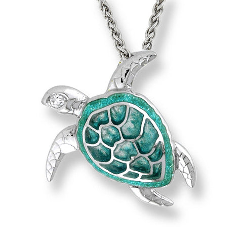 Enamel and white sapphire turtle pendant and chain in silver
