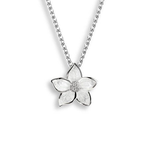 White enamel flower pendant and chain with white sapphires in silver