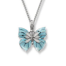 Blue enamel and white sapphire butterfly pendant and chain in silver