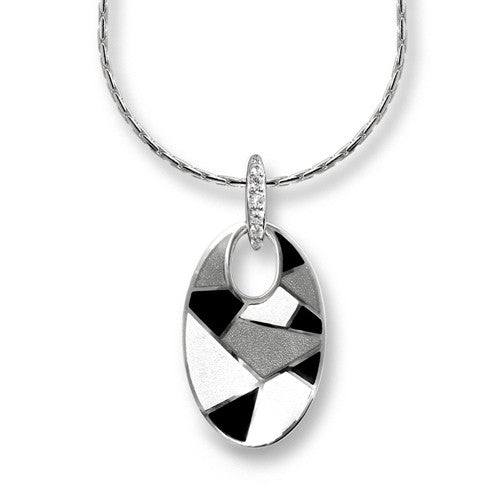 Harlequin enamelled pendant and chain in silver
