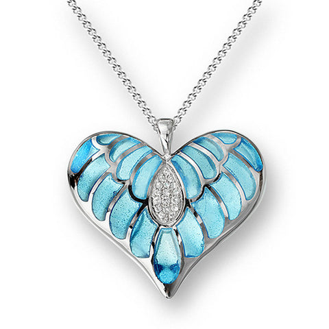 Blue enamel and white sapphire heart pendant and chain in silver