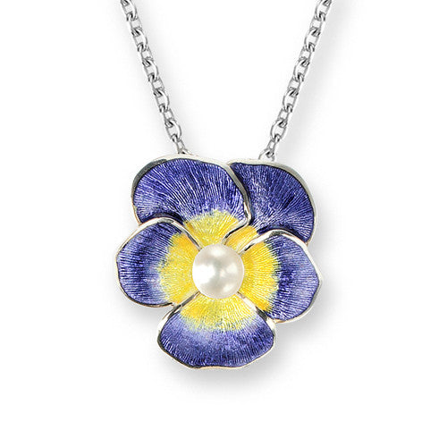 Enamel and freshwater pearl pansy pendant and chain in silver