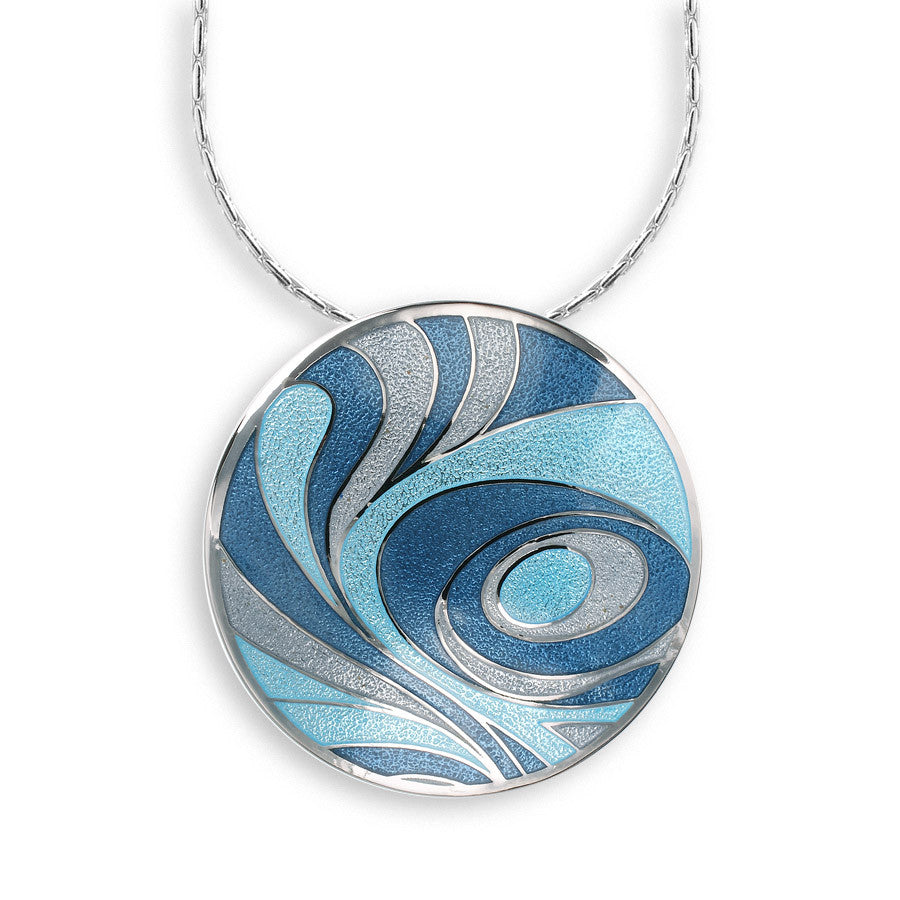 Blue enamel circle pendant and chain in silver