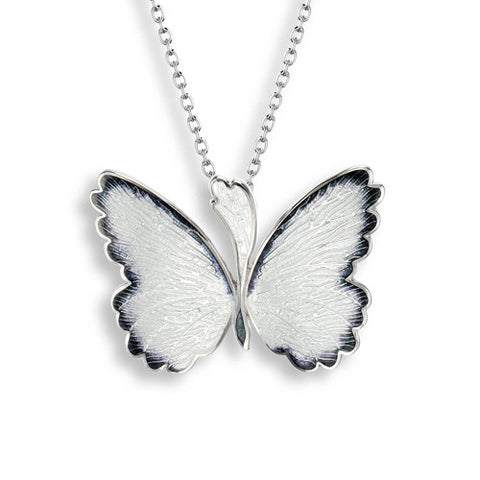 White enamel butterfly pendant and chain in silver