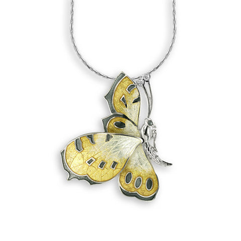 Enamel and white sapphire butterfly pendant and chain in silver
