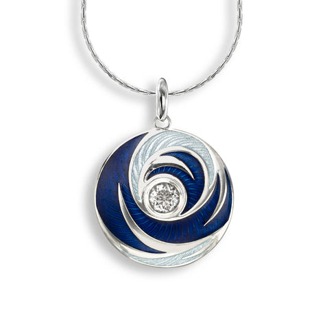 Blue enamel and white quartz swirl pendant and chain in silver