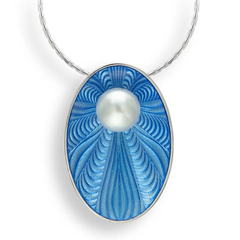 Freshwater pearl and enamel oval pendant and chain in silver
