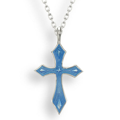 Blue enamel cross pendant and chain in silver
