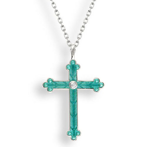 White sapphire and enamel cross pendant and chain in silver