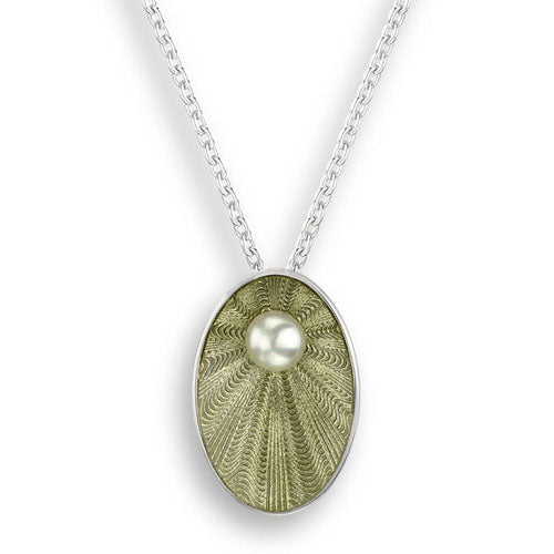 Light green enamel and freshwater pearl oval pendant and chain in silver