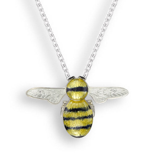 Enamel detail bee pendant and chain in silver