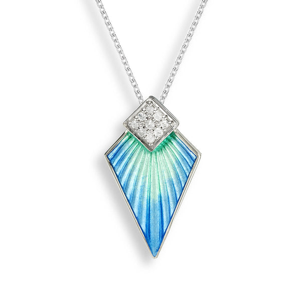 Blue enamel and white sapphire art deco pendant and chain in silver