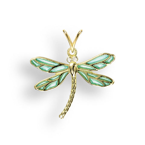 Diamond and enamel dragonfly pendant and chain in 18ct gold