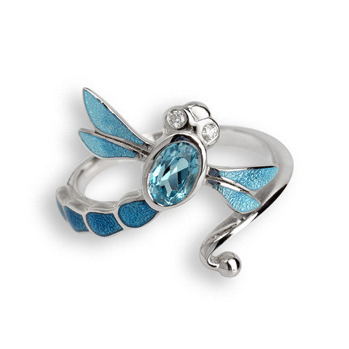 Blue topaz and white sapphire dragonfly ring in silver