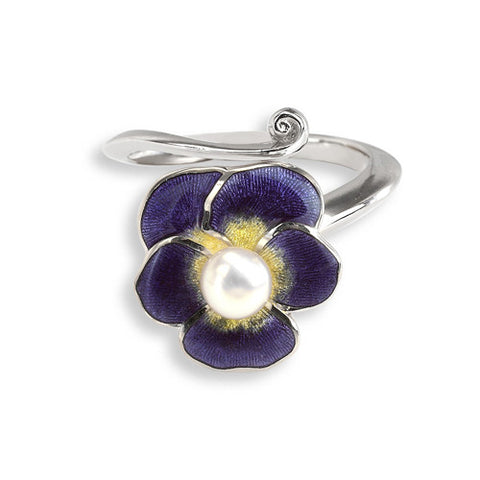 Enamel and freshwater pearl pansy ring in silver