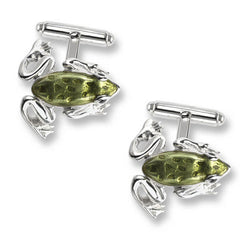 Green enamel frog cufflinks in silver