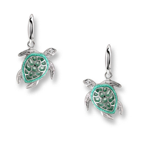 Green enamel turtle drop earrings in silver