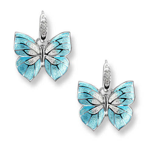 Blue butterfly enamel and white sapphire drop earrings in silver