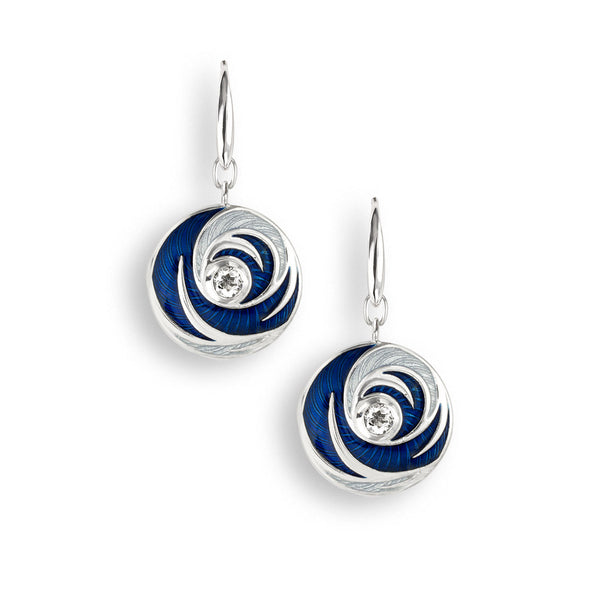 Blue enamel and white quartz swirl drop earrings in silver