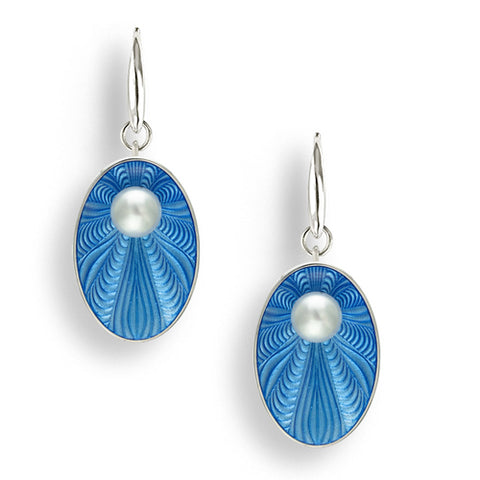 Freshwater pearl and enamel drop earrings in silver