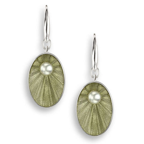 Light green enamel and freshwater pearl oval drop earrings in silver