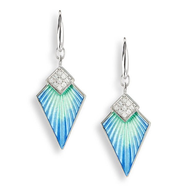 Blue art deco drop earrings with white sapphires in silver