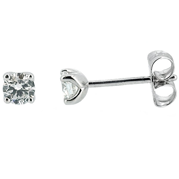 Brilliant cut diamond solitaire earrings in 18ct white gold, 0.51ct