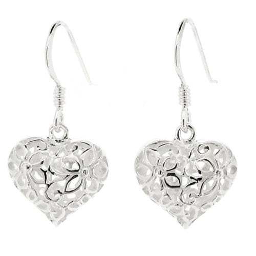 Earrings - Heart drop earrings with floral openwork in silver  - PA Jewellery