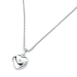 Heart shape locket and chain in silver