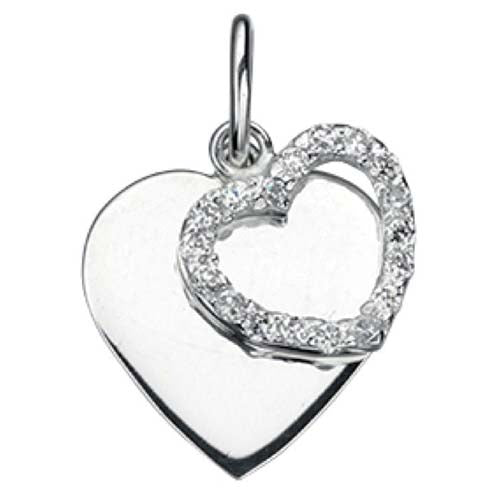 Cubic zirconia double heart pendant in silver