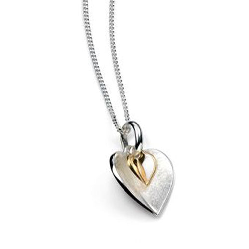 Double heart drop pendant and chain in silver with gold plating