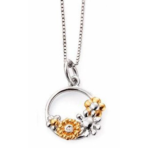 Floral ring pendant and chain in silver with gold plating